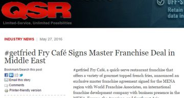 QSR - #getfried Fry Café Signs Master Franchise Deal in Middle East