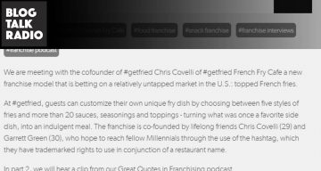 Blog Talk Radio Interview - Franchise Interviews Meets with Chris Covelli of #getfried French Fry Cafe