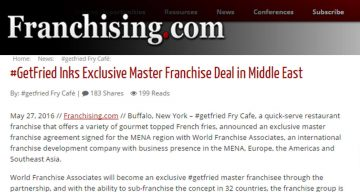 Franchising.com - #GetFried Inks Exclusive Master Franchise Deal in Middle East